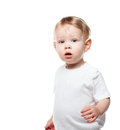 Baby on white high key image of an adorable one year old boy looking straight ahead isolated Royalty Free Stock Photography