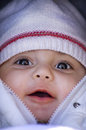 Baby in winter little white and pure Royalty Free Stock Photos