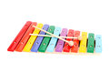 Baby xylophone colorful with two sticks isolated over white background Stock Images