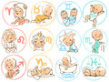 Baby zodiac horoscope sighns as cartoon kids set of icons signs characters cute boys and girls astrological symbol colorful vector Stock Photos
