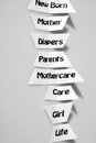 Babycare healthcare and medical industry maternity and birth keywords arranged in a row Stock Images
