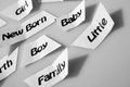 Babycare healthcare and medical industry maternity and birth keywords black and white photo Stock Photography
