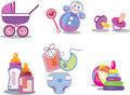 Babyish icons on the white background Royalty Free Stock Photo