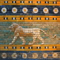 Babylonian lion this relief of a is part of the original ishtar gate from ancient babylon the gate was rebuilt from original Stock Photo