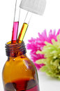 Bach flower remedies closeup of a dropper bottle with on a white background Stock Photo