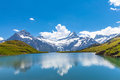 Bachalpsee and the snow peaks of jungfrau region panorama view with glacier swiss alps Stock Image