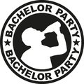 Bachelor party badge with drinking man Royalty Free Stock Photo