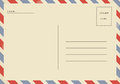 Back of airmail blank postcard. Royalty Free Stock Photo
