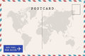 Back of airmail blank postcard Royalty Free Stock Photo