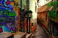 Back alley empty with colorful graffiti Royalty Free Stock Photography