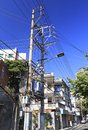 Back alley with lots of electric wires