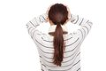 Back of Asian girl with scarf got headache Royalty Free Stock Photo
