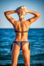 Back of a beautiful woman in bikini on sea backgro Royalty Free Stock Photo