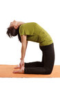 Back bend young woman practicing yoga Stock Image