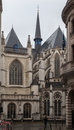 The back of brussels cathedral with its gothic windows and towers belgium Royalty Free Stock Image