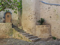 Back entrance to the church st tropez france shaded that almost looks like water color painting Stock Image