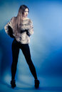 Back fashionable girl with long hair young woman in fur coat of full length of on blue studio shot winter fashion Stock Photography