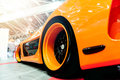 Back of a generic orange sport car Royalty Free Stock Photo