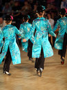 Back of girls dance step at World Dance Olympiad Royalty Free Stock Photo