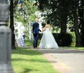 Back groom and bride walking along the alley on the background of trees