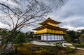Back of kinkakuji temple on january kyoto japan the golden pavilion in kyoto japan world heritage site Royalty Free Stock Photography