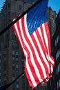Back lit American flag in New York City Royalty Free Stock Photo