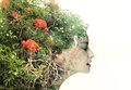 Back in nature artistic surreal female profile a metamorphosis with Stock Photography