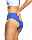 Back pain woman in blue panties holding on for the Stock Image