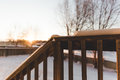 Back Porch View in Winter Royalty Free Stock Photo