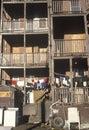 Back porches of decaying apartment housing holyoke massachusetts Royalty Free Stock Photography