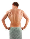 Back portrait of a young muscular man with a half naked body Royalty Free Stock Images