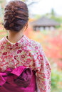 Back of a pretty japanese girl in beautiful atmosphere this pic picture has soft focus Stock Photo