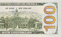 Back Right Half of the New One Hundred Dollar Bill Royalty Free Stock Photo