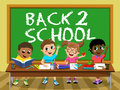 Back School blackboard Happy kids children classroom Royalty Free Stock Photo