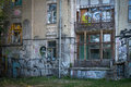Back side of building with graffiti Royalty Free Stock Photo