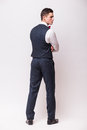 Back side Handsome young businessman Royalty Free Stock Photo