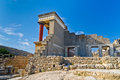 Back side of northern entrance to knossos crete this is a view a the palace that was a ceremonial and political centre the minoan Royalty Free Stock Photo