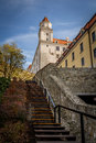 The back stairs leading upto beautiful castle of bratislava Royalty Free Stock Image