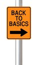 Back to basics a modified one way road sign indicating Royalty Free Stock Photo