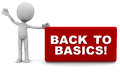 Back to basics words red label presented little d man white background Stock Images