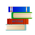 Back to college books cartoon with text Royalty Free Stock Photos