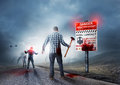 Back to the dead zombie breakout contaminated land with warning sign Royalty Free Stock Photography