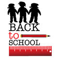 Back to school abstract colorful background with children silhouettes a red pencil and the text written with capital letters Stock Photography