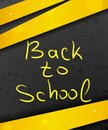 Back to school on abstract dark background with yellow lines and Royalty Free Stock Photo