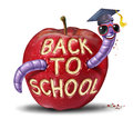 Back to school apple with a fun worm character wearing a graduation cap who has eaten the words from the fruit as an education and Royalty Free Stock Images
