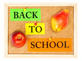 Back to school. apple and pear Stock Photos