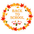 Back to school autumn background with wreath of leaves and text