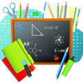 Back to School. Back to School colorful poster with blackboard and school supplies.