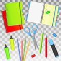Back to School. Back to School i objects. Isolated school supplies. Vector illustrations.