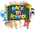 Back to school background with blackboard Stock Photos